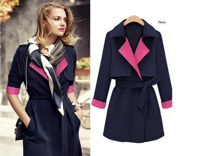 2015 autunm женщин мода ветровка куртка новым хитом цвет сшивание длинный участок пальто
