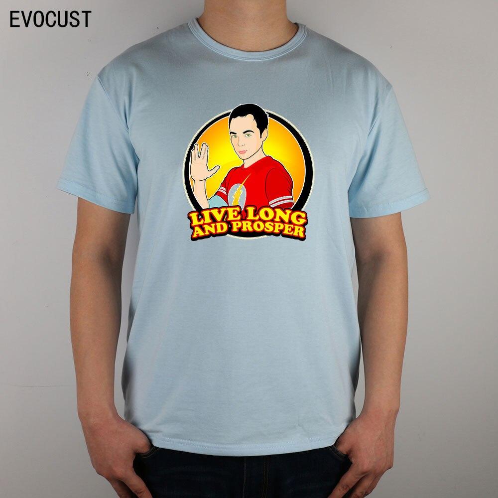 live Long And Prosper the Big Bang Theory Evolution Sheldon T-shirt Top Lycra Cotton Men T shirt