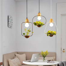 Plant Pot Pendant Lamp Home Restaurant Light Black White Color Wood With Glass