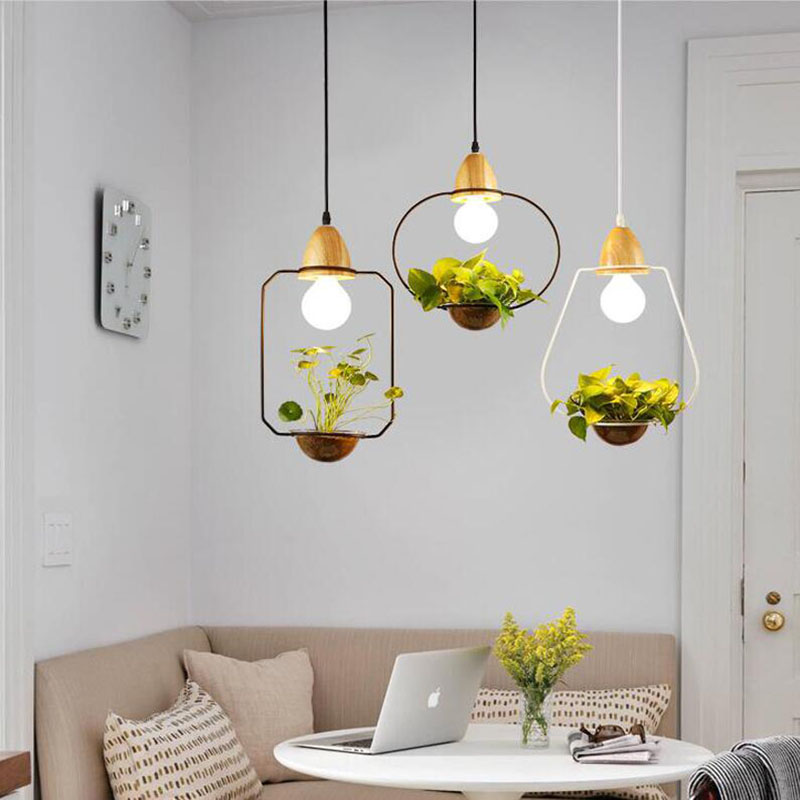 Modern Simple Creative Iron Plant Pot Pendant Lamps Restaurant Living Room Cafe Bar Decoration Wood And Glass Pendant Lights