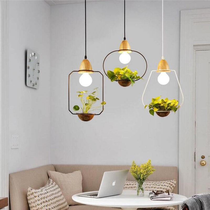 Modern Simple Creative Iron Plant Pot Pendant Lamps Restaurant Living Room Cafe Bar Decoration Wood and Glass Pendant Lights