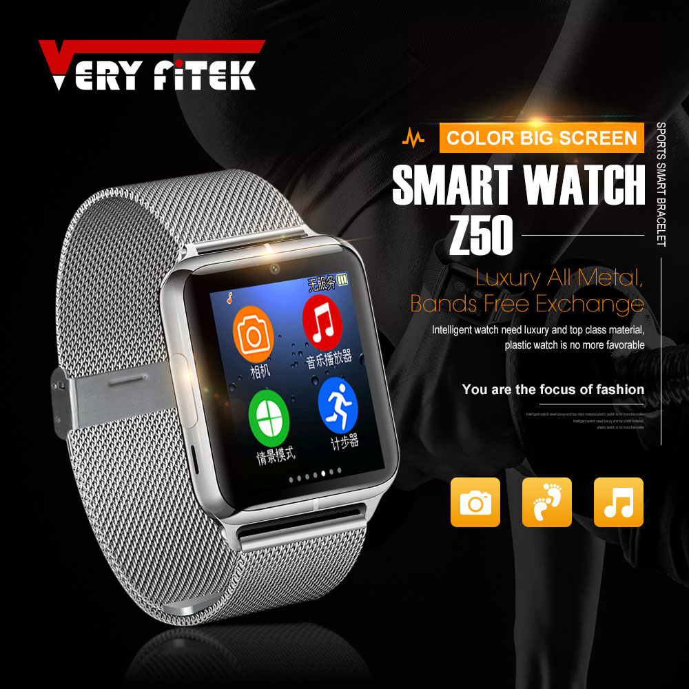 VERYFiTEK J50 Smart Watch Bluetooth 4.0 Touch Screen Relogios Support TF Sim Card Camera for Android IOS Men Women Smartwatch