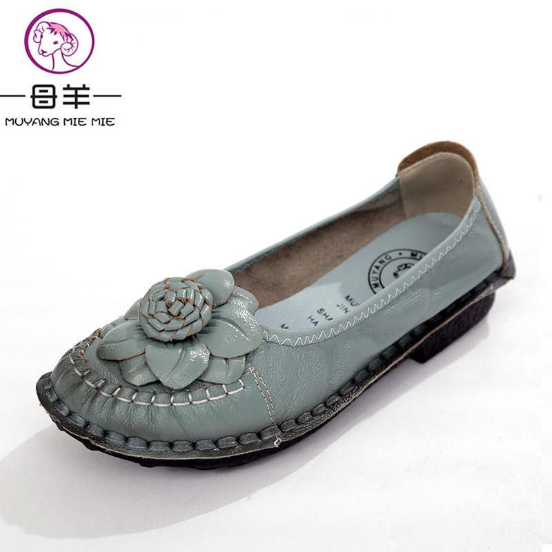 MUYANG MIE MIE Women Shoes Genuine Leather Flat Single Shoes Woman Soft Comfortable Shoes Handmade Flower Moccasins Women Flats muyang mie mie genuine leather women shoes woman casual flower single flat shoes soft comfortable women flats
