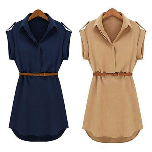 Womens Casual V-neck Cap Sleeve Solid Color Chiffon Shirt Dress with Brown Belt