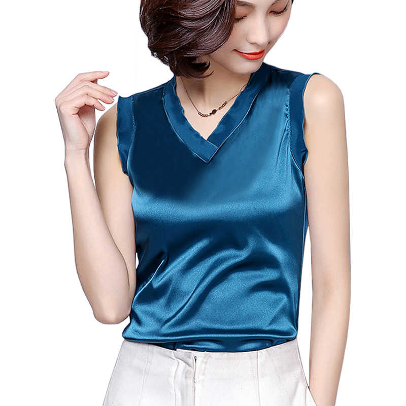 2018 New Sleeveless Tunic Blouses Women Ruffle Sexy Crop Tops Female Short Shirts Ladies Imitation silk Office Work Blusas