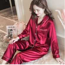 Silk Sexy Women Pajamas Set Long Sleeves V-Neck Femme Print Floral Pyjama 2019 Spring Top Fashion Sweet Home Sleepwear SY1003-3