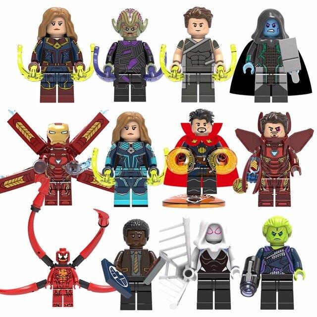 Para Legoing Spiderman Capitão Marvel Super Heroes Homem De Ferro Thor Loki Deadpool batman Avengers Blocos Figura Brinquedos para crianças