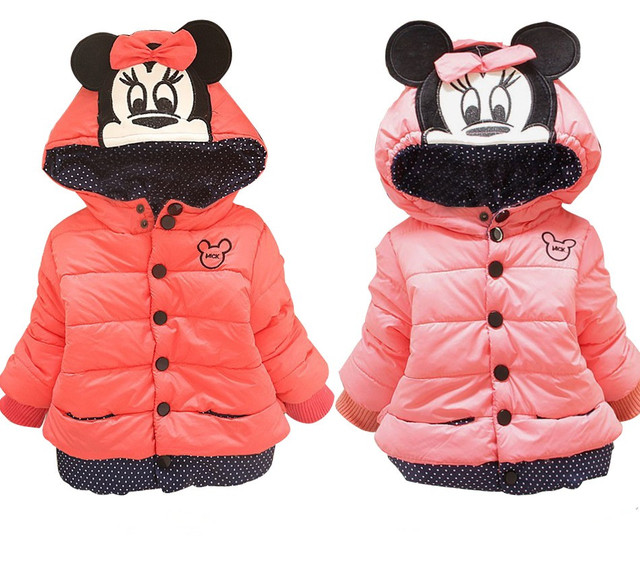 grande vente 12ebb 454f0 US $8.32 30% OFF|CHCDMP New Minnie Jackets Baby Girl Coat Children Cotton  Winter Red Pink Casual Hooded Jacket Girls Keeping Warm Outerwear Coats-in  ...