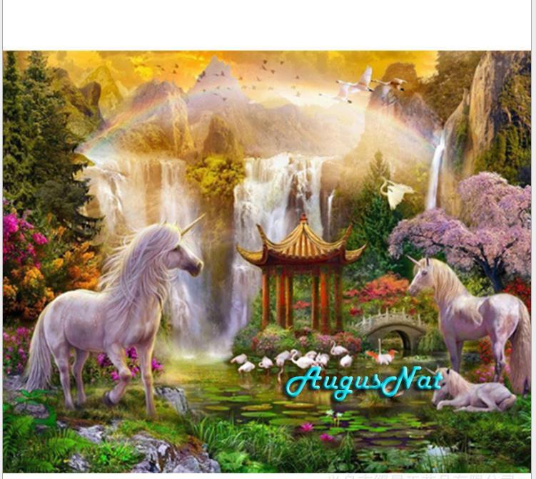 unicorn diamond painting cross stitch full square waterfall wall art decor 5d diy crystal painting scenery diamont dots crafts figure class ultra instinct goku