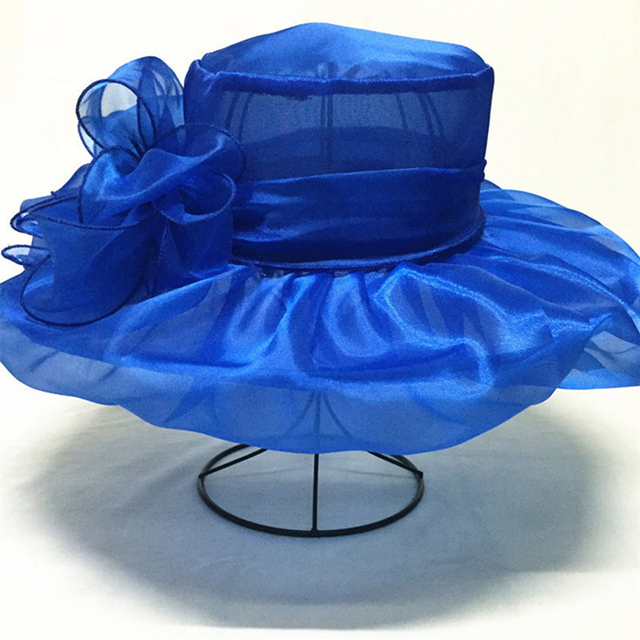 [FLB] Elegant Fashion Women's Church Hats For Women Flower Hat Summer Gorras Sun Hat Wedding Kentucky Derby Wide Brim Sea Beach 2