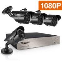 ZOSI Bewakingscamera 4ch CCTV Systeem DVR DIY Kit 4x1080 P IP67 Weerbestendig 2.0mp Security Camera Surveillance systeem