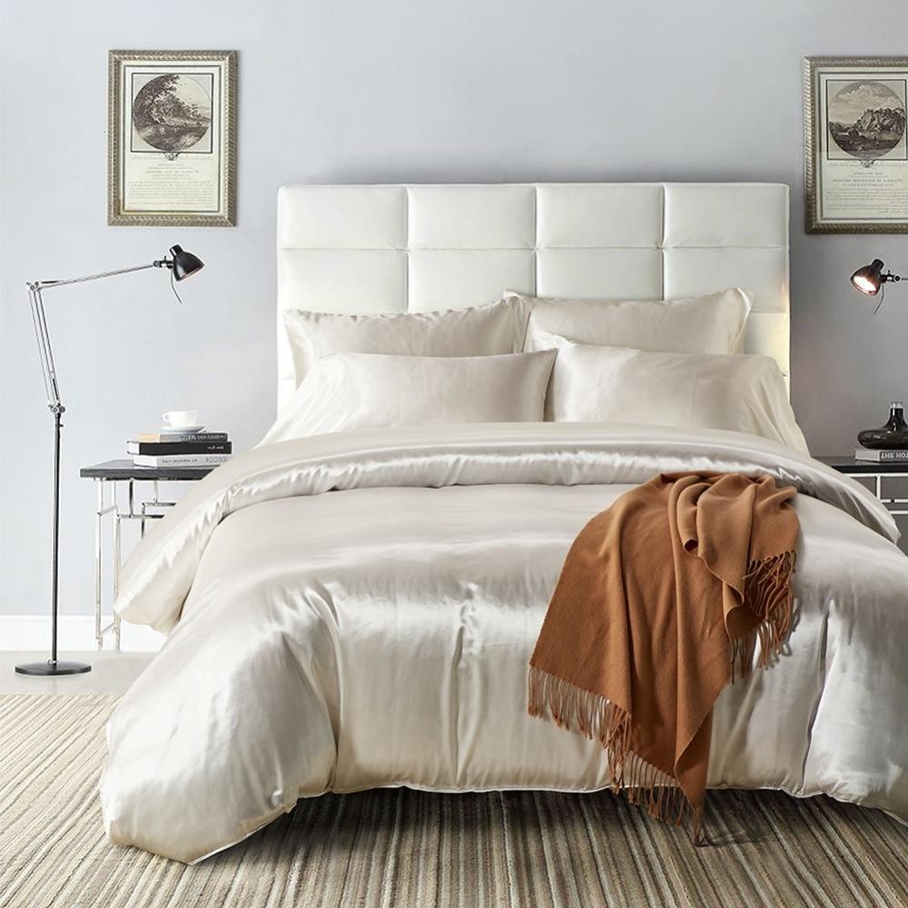 Solid Color Imitation Satin Silk Bedding Set Black Duvet
