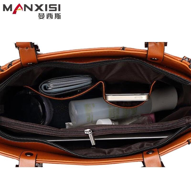 MANXISI Brand Women Bag  European And American Brown Leather Bag Women Handbags Brand Shoulder Women Messenger Bags