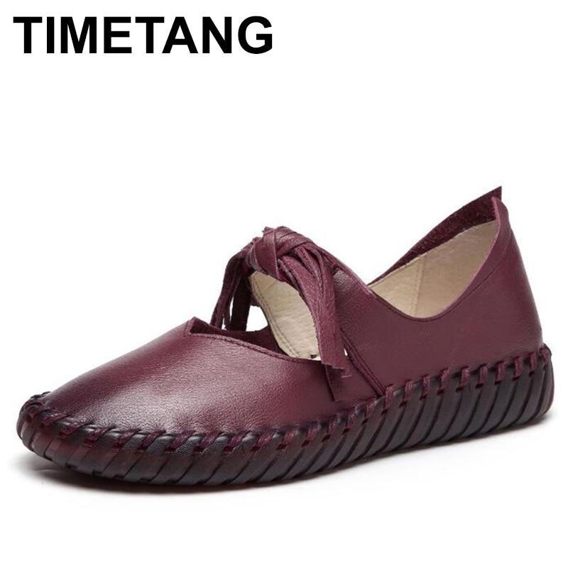 Chaussures en cuir faites à la main à la main chaussures décontracté femmes chaussures à plate-forme de mode mocassins design chaussures décontractées à pompon confortable