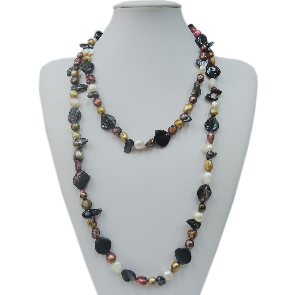 100% NATURE FRESH-WATER PEARL NECKLACE,120 CM ,very fashion colors pearls,barqoue shape pearl