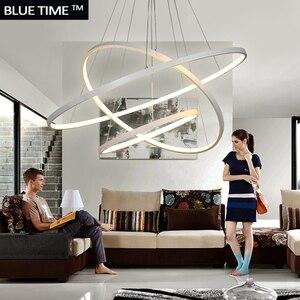 Image 3 - זהב & שחור & לבן מודרני Led נברשות 40 60 80 100cm מעגל Led תקרת נברשת תאורת סלון חדר מטבח זוהר
