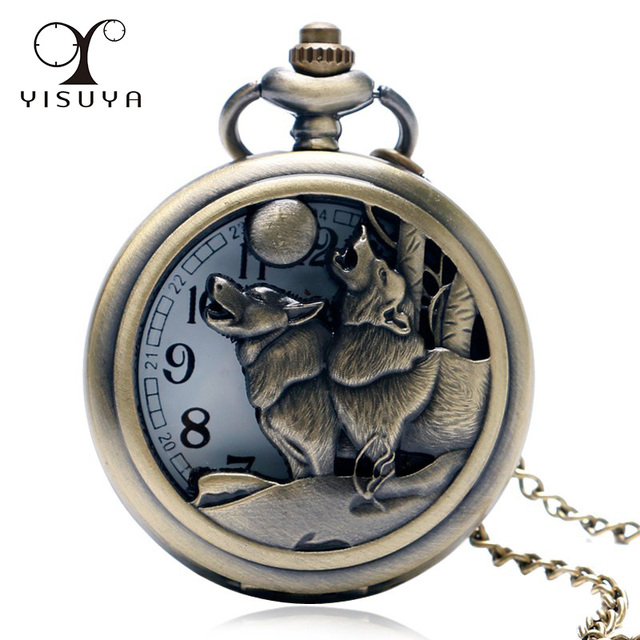 2018 New Arrival Moon Wolf Pocket Watch Hot Celestial Dog Devouring The Sun Vint