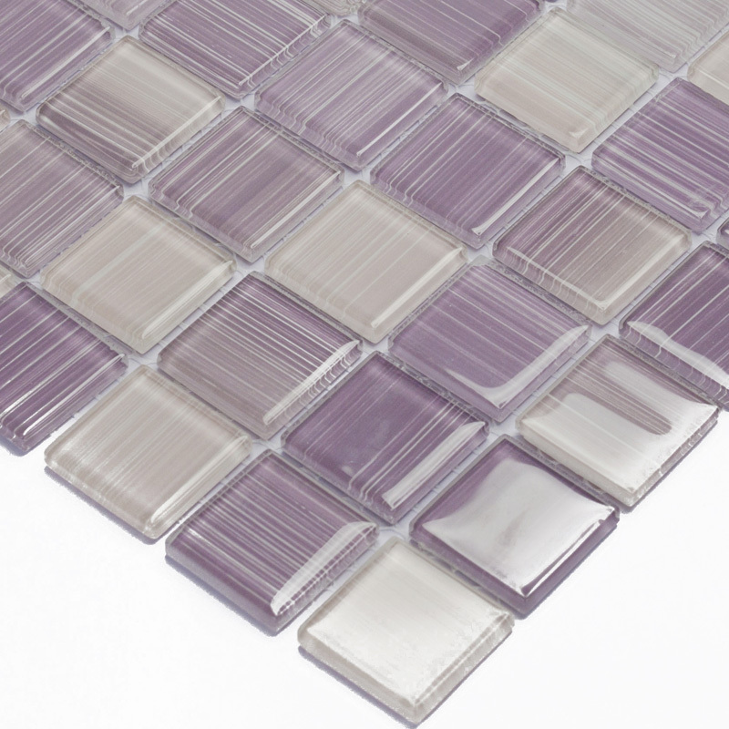 purple hand painted diy crystal glass mosaic tiles children kids room kitchen backsplash tile bathroom color