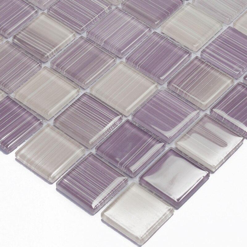 Purple Hand Painted Diy Crystal Gl Mosaic Tiles Children Kids Room Kitchen Backsplash Tile Bathroom Color