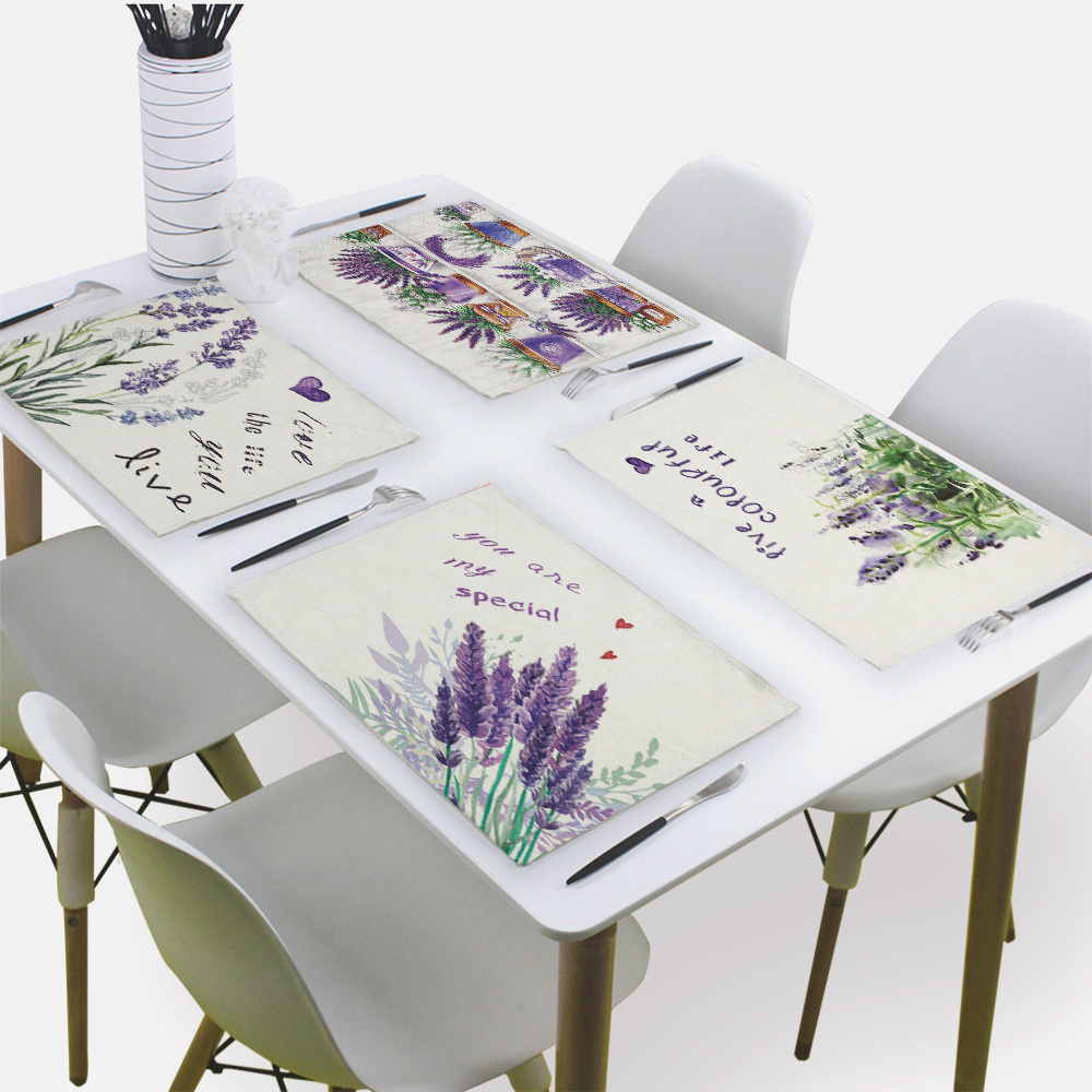 Provence Flower Lavender Napkin Matting Napkins Decorative 43*32Cm Farmhouse Floral Linen Placemat Kitchen Napkin Table Mat image