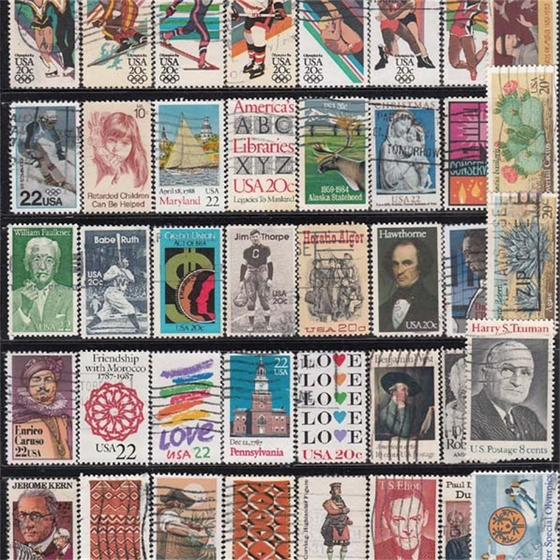high value 100 pcs usa no repeat postage stamp collections with post