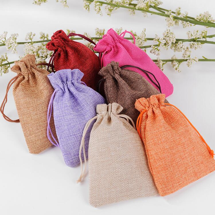 50pcs/lot 15x20cm Multicolours Large Size Big Drawstring Linen <font><b>Bags</b></font> For Christmas Party Wedding Gift <font><b>Packaging</b></font> <font><b>Bag</b></font> Pouch image