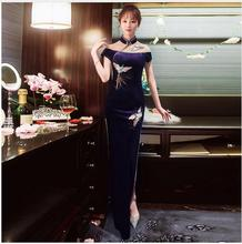 New Chinese Traditional Dress Long Modern Cheongsam Korean Velvet Qipao Robe Chinoise Oriental Style Dresses Embroidery Qi Pao