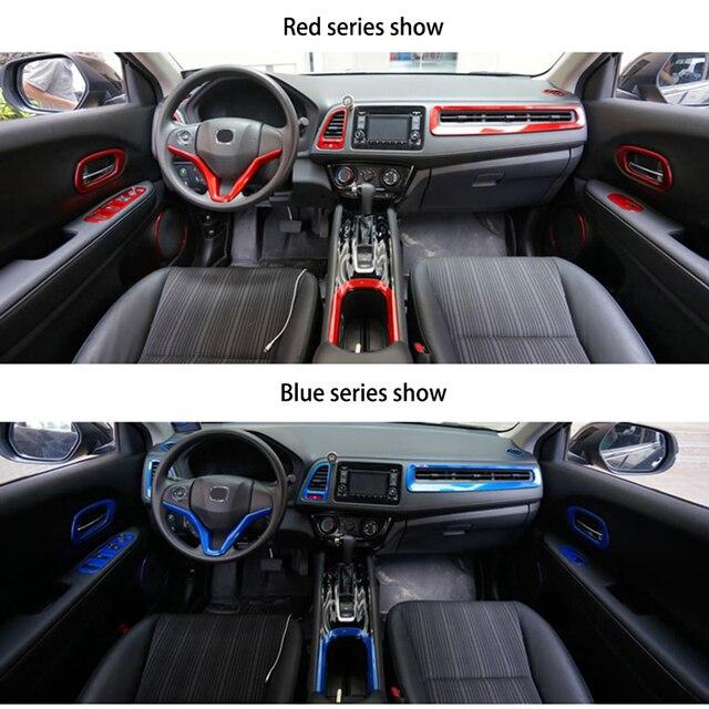 ABS Chrome Interior Trim fit สำหรับ HR V Vezel Car Center คอนโซลภายใน Trim ชุดพลาสติก Moldings อุปกรณ์จัดแต่งทรงผม