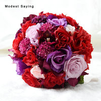 Red And Purple Romantic Artificial Wedding Flowers Bouquets 2017 For Outerside Garden Wedding Bridal Bridesmaid Holding