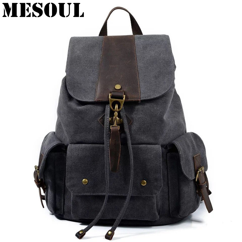 MESOUL Canvas Backpack Men Laptop Backpacks High Quality Casual Bookbag Unisex School Bags Vintage Brand Male Travel Rucksack psycho pass backpack black oxford men laptop bags 14inch bookbag for high school backpacks