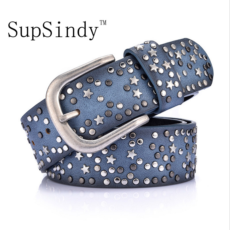 SupSindy woman belts Star geometric rivet pin buckle PU belt for women European fashion top quality faux leather strap for jeans