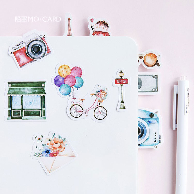 45pcs Box One Person Travel Planner Stickers Cute Kawaii Green Plant Cactus Food Scrapbooking Stickers DIY Diary Stationery in Stationery Stickers from Office School Supplies