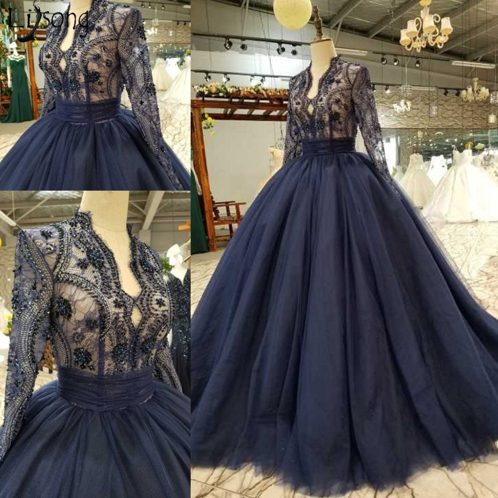 Vintage Royal Blue Lace Prom Dresses Sparkle Beaded Formal Party Dress With Full Sleeves Tulle Ball Gowns Long Prom Gowns