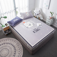 Cartoon Lion Mattress Protector Cover Washable Bed Topper Sheet Children Adults Ice Silk Soft Summer Sleeping Bed Mat Set