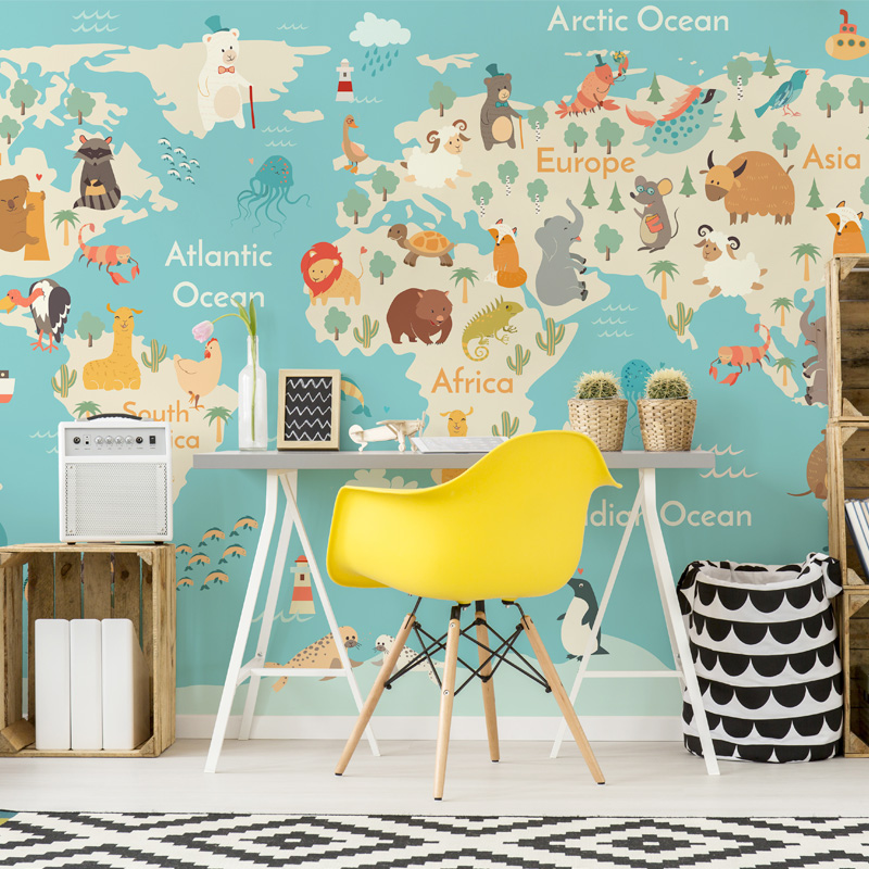 3d Papel parede Blue Wolrd Map Animal 3d Cartoon Wallpaper Mural 3D Wall Sticker for Kids Room Mural Wall paper 3d Wallcoverings bacaz small dots cartoon wallpaper roll for child kids room background wall paper rolls 3d wallcoverings