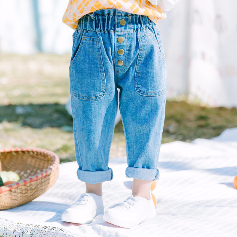 Jeans for Girls Children Broken Hole Pants Spring Summer New Children Tracksuits Loose Clothing Cute Denim Casual Sport Pants s xl jeans casual loose denim pants 2018 new spring mid waist tassel wide leg jeans pants for women