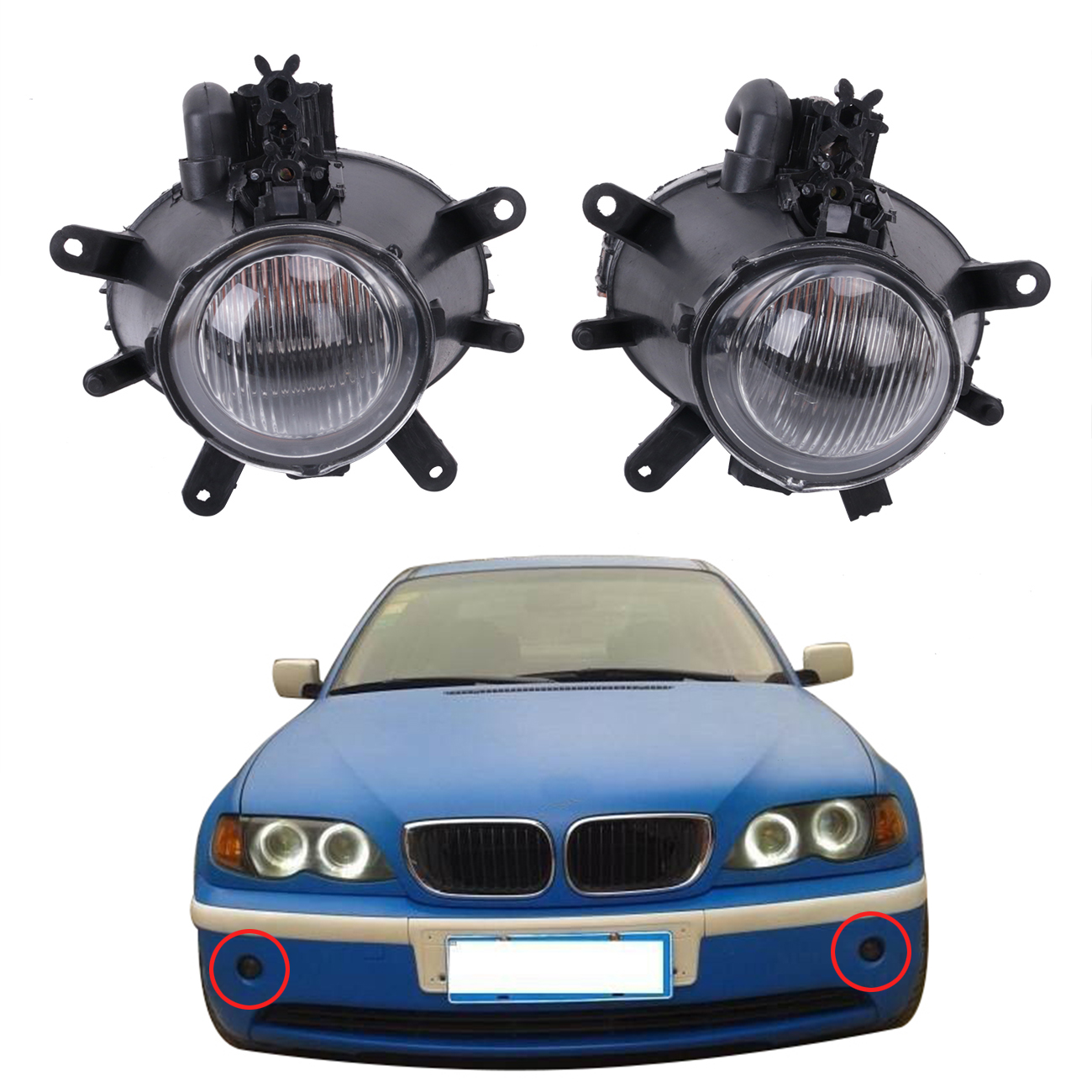 2x Front Bumper Fog Lights Lamps Clear Glass Len 63176911007 For BMW 3-Series E46 4-Door 330i 325i 330Xi 325 Xi 2001-2005 #W083 for bmw 3 series e36 318 328 323 325 front coilover strut camber plate top mount green drift front domlager top upper mount
