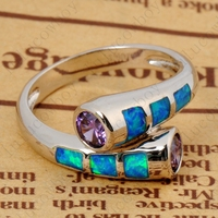 2015 New Summer Charming Women Fine Jewelry Blue Multicolor Sapphire 925 Silver Ring Size 6 7