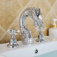 Free ship Chrome 3 Pcs WIDESPREAD LAVATORY BATHROOM SINK DRAGON FAUCET mixer tap Crystal handles