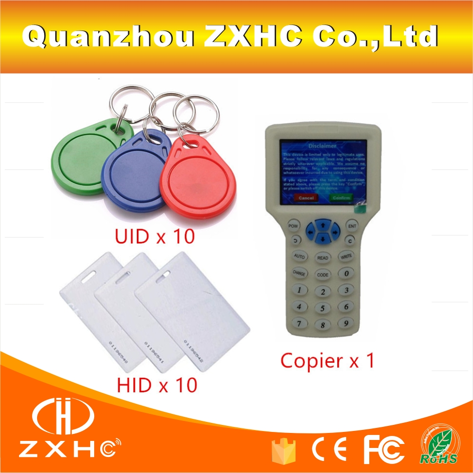 English Language RFID Reader Writer Copier Duplicator For IC/ID 125Khz 13.56Mhz Card 10 Frequency + 20pcs RFID Tags