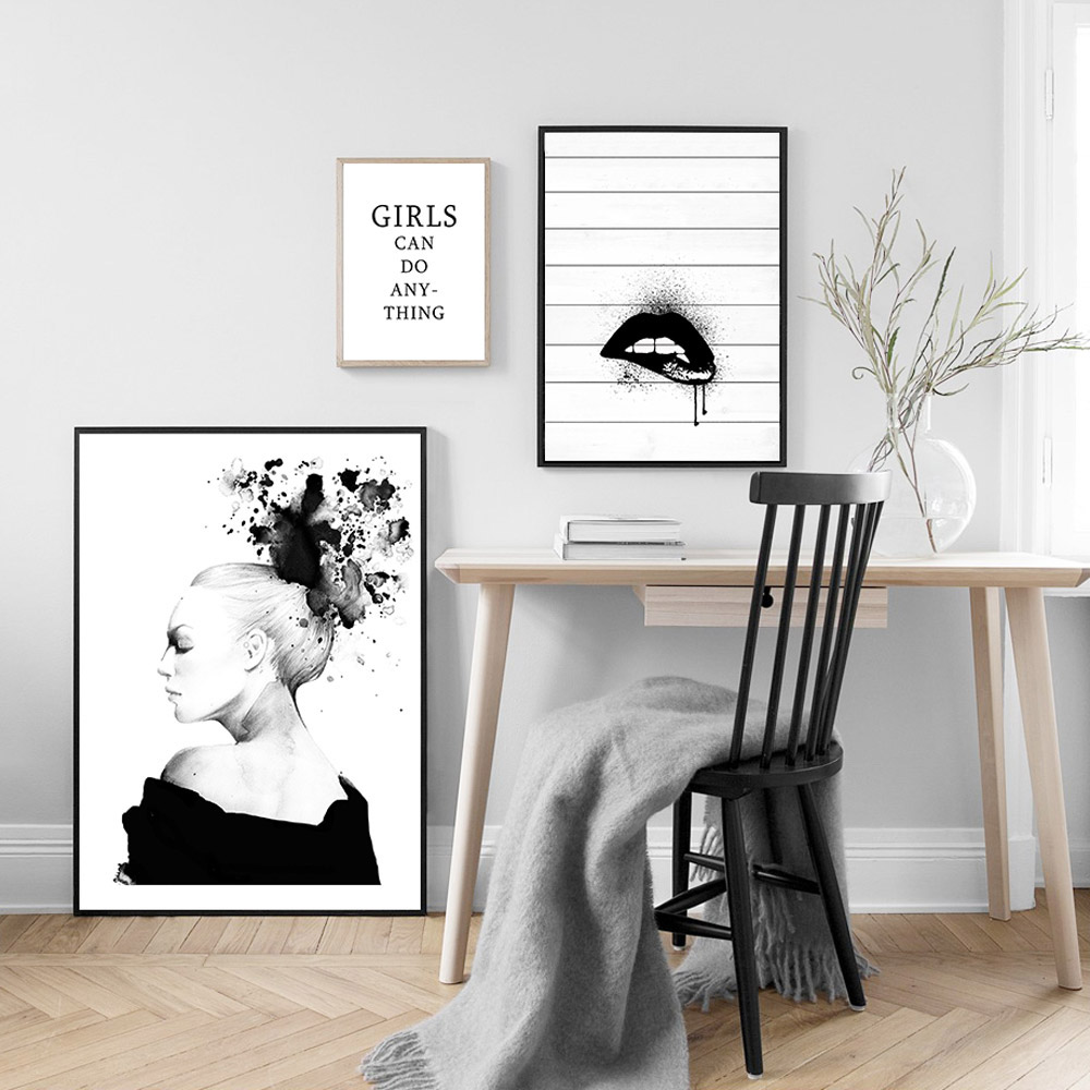 Black Lips Poster Pop Art Painting Abstract Wall Art Black and White Posters And Prints Living Room Women Picture Quote Unframed in Painting Calligraphy from Home Garden