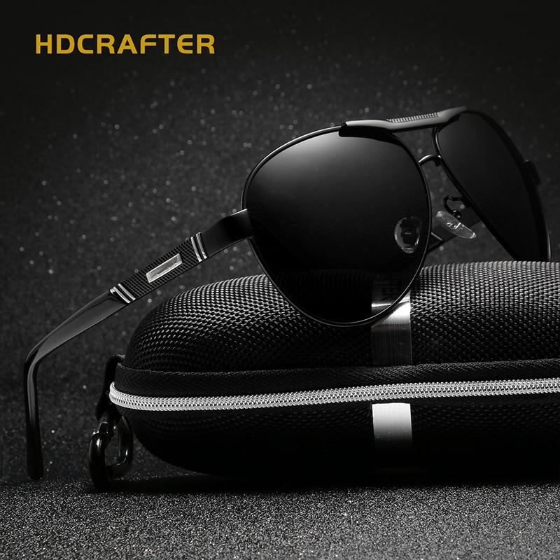 HDCRAFTER Brand Polarized Aluminum Alloy Frame Sunglasses Fashion Men's Driving Sun Glasses Eyewear Accessories