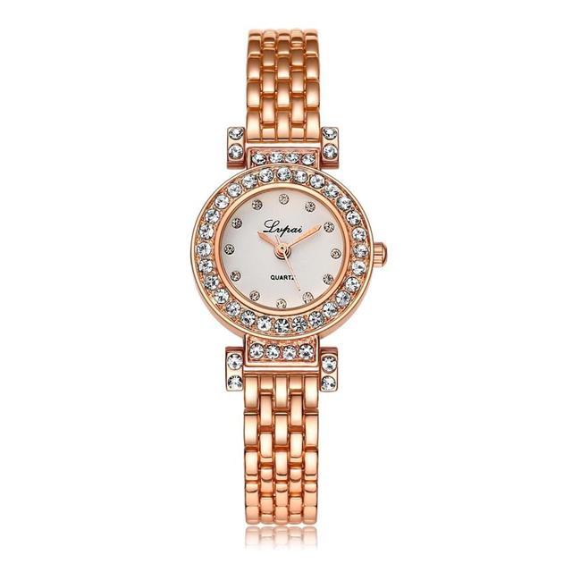 Lvpai Brand Fashion Bracelet Watch Women Gold Luxury Crystal Alloy WristWatches
