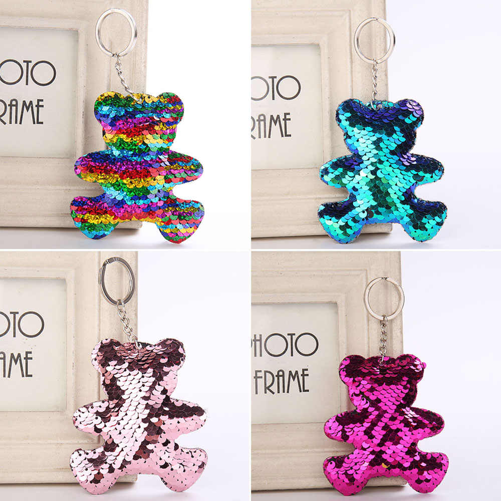 1 PC Bonito Mulheres Urso Keychain Glitter Lantejoulas Chave Anel para As Mulheres Da Bolsa Titular Pingentes Chaveiro Llaveros Clef Porte