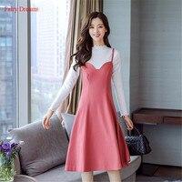 Fairy Dreams 2 Piece Set Women Autumn Winter Woolen Dress And White Tops Rose Red Strap Elegant Sundress 2017 vestidos de festa