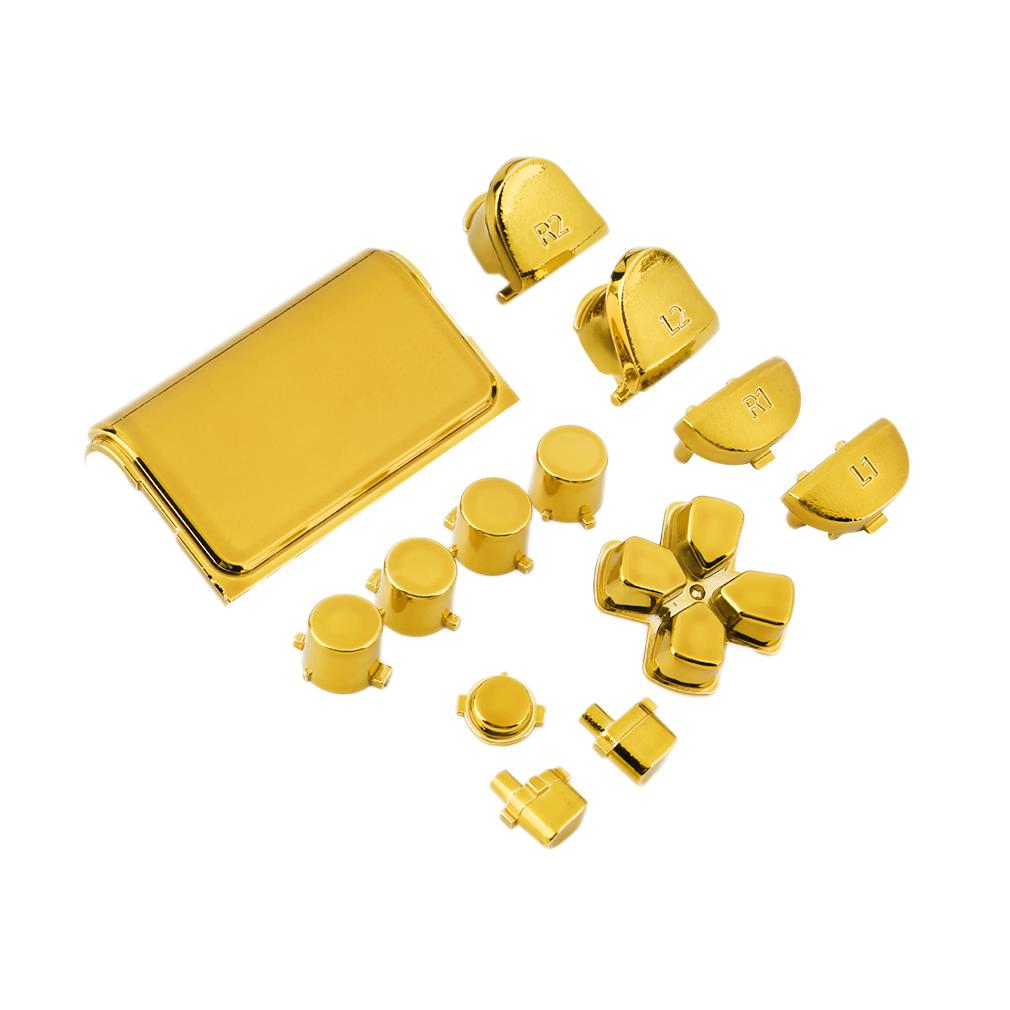 New Full Chrome Button Replacement Mod Game Kit for Playstation 4 PS4 Controller Joystick Video Game Playstation Gold Color