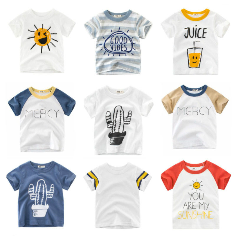 2019 New Boys T-shirt Kids Basic T Shirts Cartoon Cactus Top Tees Children Sport Clothing Baby Boy Design Shirts For 2-8 Years(China)