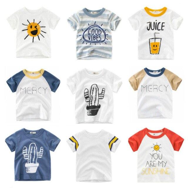 2019 חדש בני ילדי חולצה בסיסי T חולצות Cartoon קקטוס למעלה Tees ילדי ספורט בגדי תינוק ילד עיצוב חולצות עבור 2-8 שנים