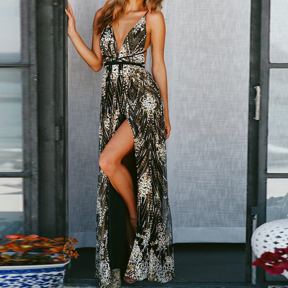 Shiny sequin backless sexy maxi dress V neck party club