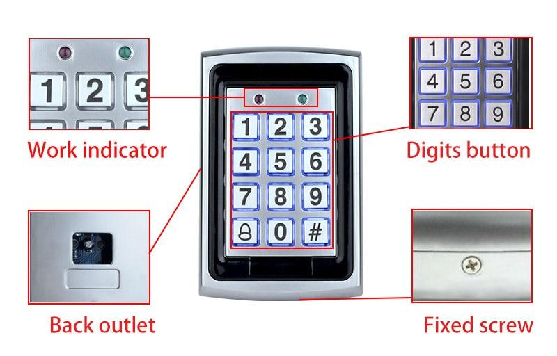 HTB1lQqrdBUSMeJjSszeq6AKgpXab RFID Metal Access Control EM Card Reader Keypad with 10 EM4100 keyfobs waterproof protecter cover For Door Access Control System